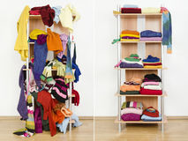 Antes de guardarropa desordenado y después ordenado con ropa y accesorios coloridos del invierno Imagenes de archivo