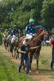 Antes de la carrera de caballos para el gran premio del verano Imagen de archivo libre de regalías