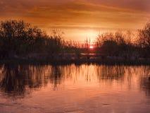 Antes do nascer do sol nas marés Foto de Stock Royalty Free