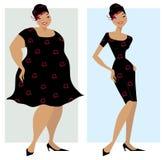 Antes e depois da dieta Fotos de Stock Royalty Free