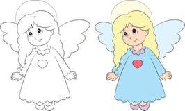 Antes e depois da ilustração de um anjo, em preto e branco e na cor, aperfeiçoe para o livro para colorir das crianças ilustração do vetor