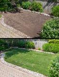 Antes e depois de colocar a grama nova em um jardim imagens de stock royalty free
