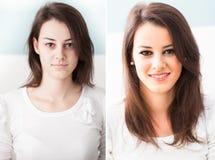 Antes e depois de compõe Fotografia de Stock Royalty Free