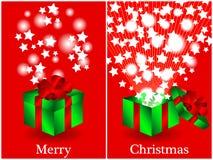 Antes e depois do cartão de Natal do presente Fotografia de Stock Royalty Free