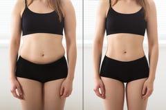 Antes e depois do conceito da dieta imagem de stock