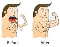 Antes y después stock de ilustración