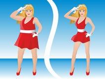 Antes y después de dieta stock de ilustración
