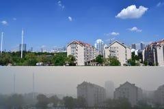 Antes y después de la contaminación imagen de archivo