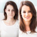 Antes y después de maquillaje foto de archivo