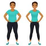 Antes y después de mujer de la dieta stock de ilustración