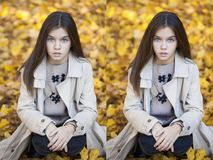 Antes y después de retocar en el editor de fotos - niña joven imagenes de archivo