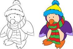 Antes y después del ejemplo aislado de un pingüino, blanco y negro y del color, para el libro de colorear de los niños o la tarje ilustración del vector