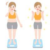Antes y después del ejemplo de la pérdida de la dieta y de peso Imagenes de archivo