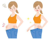 Antes y después del ejemplo de la pérdida de peso Fotografía de archivo libre de regalías