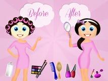 Antes y después del tratamiento de la belleza