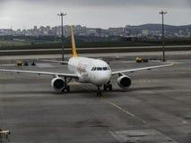 ANTHALYA, TURKEY, JULY 7,2017 Turkish plane on Istanbul airport Stock Image