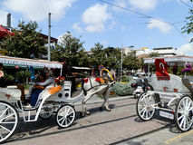 ANTHALYA, TURKEY, JULY 7,2017 Turkish town with fairy tale like horse carriage.  Royalty Free Stock Images