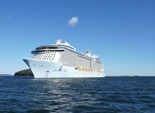 Anthem of the Seas, Royal Caribbean. Cruise ship in Bar Harbor Maine - Frenchman Bay near Porcupine islands Stock Image