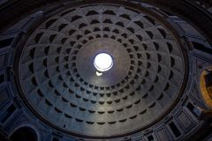 Antheon with the famous ray of light from the top, Rome royalty free stock photo