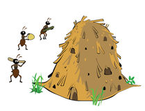Anthill and ants. Cartoon anthill and three ants royalty free illustration