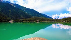 The Antholzer See a lake in South Tyrol, Italy. The Antholzer See Italian: Lago di Anterselva a little lake in South Tyrol, Italy stock image