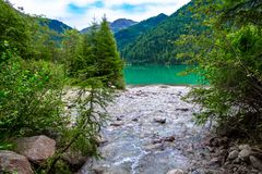 The Antholzer See a lake in South Tyrol, Italy. The Antholzer See Italian: Lago di Anterselva a little lake in South Tyrol, Italy stock photo