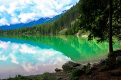 The Antholzer See a lake in South Tyrol, Italy. The Antholzer See Italian: Lago di Anterselva a little lake in South Tyrol, Italy royalty free stock photography
