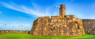 Anthonisz Memorial Clock Tower in Galle. Panorama Stock Photo