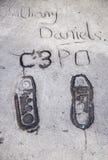 Anthony Daniels C3PO fotspår i Hollywood Royaltyfri Fotografi