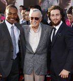 Anthony Mackie, Stan Lee and Aaron Taylor-Johnson Stock Image