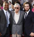 Anthony Mackie, Stan Lee och Aaron Taylor-Johnson Royaltyfri Foto