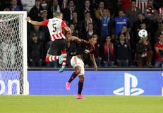 Anthony Martial Manchester Unied and Jeffrey Bruma PSV Eindhoven Royalty Free Stock Photo