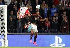 Anthony Martial Manchester Unied and Jeffrey Bruma PSV Eindhoven Royalty Free Stock Image