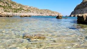 Anthony Quinn Bay en la isla de Rodas, Grecia Imagen de archivo