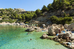 Anthony Quinn Bay. Ladiko Rhodos GR - September 14, 2014. Panoramic view of the  on Rhodes island Royalty Free Stock Images