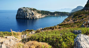Anthony Quinn Bay. The bay is named Anthony Quinn lies on the east coast of the island near the capital city of Rhodes Royalty Free Stock Photography