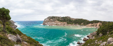 Anthony Quinn bay panorama on a cloudy day Stock Image