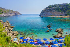 Anthony Quinn Bay Rhodes Greece. Overlooking the beautiful beach at Anthony Quinn Bay Rhodes Greece Europe Stock Images