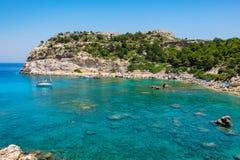 Anthony Quinn Bay. Rhodes, Greece. View of Ladiko Anthony Quinn Bay. Rhodes, Dodecanese Islands, Greece, Europe Stock Photos