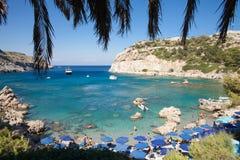 Anthony Quinn Bay Rhodes i Faliraki Den härliga stranden på är Royaltyfria Bilder