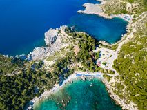 Anthony Quinn Bay, Rhodes island. Ladiko beach and Anthony Quinn Bay aerial panoramic view in Rhodes island in Greece royalty free stock photos