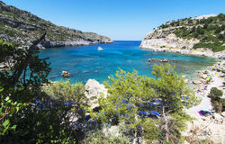 Anthony Quinn Bay, Rhodes. Anthony Quinn Bay, Ladiko Rhodos Greece. Panoramic view of the Anthony Quinn bay on Rhodes island Royalty Free Stock Images