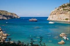 Anthony Quinn Bay, Rhodos in Faliraki Het mooie strand op is Stock Foto