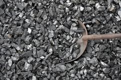 The scoop is immersed in a mass of fine coal. The anthracite enriched in coal is recruited by metalware Royalty Free Stock Photography