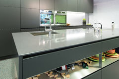 Anthracite modern kitchen with oven Stock Photo
