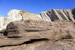 Anthropocene Camada industrial dos sedimentos no primeiro plano outra vez Imagens de Stock Royalty Free