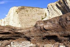 Anthropocene Couche industrielle de sédiments en plage cimentée Images libres de droits