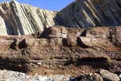 Anthropocene Estrato industrial dos depósitos no agai do primeiro plano Fotografia de Stock Royalty Free
