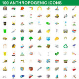 100 anthropogenic icons set, cartoon style Stock Images