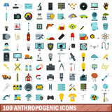 100 anthropogenic icons set, flat style. 100 anthropogenic icons set in flat style for any design vector illustration Royalty Free Stock Photography